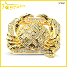 gold plated stainless steel iced out hip hop animal belt buckle 40mm