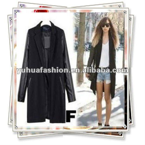 Ladies ZA PU LEATHER SLEEVE+ WOOL Blazer Jacket COAT TRENCH PARKA