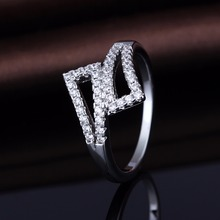 Hot Sale Wax Pave Settting Silver Band Cocktail Rings