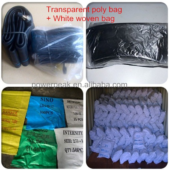 Transparent poly bag + White woven bag