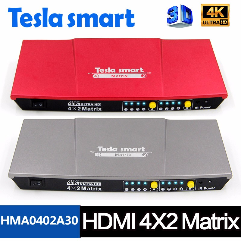 Ultra HD 4k 4x2 Matrix Switcher/Splitter Support 3D HDMI V1.4 IR control 4 in 2 out Switch