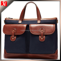 Men Canvas handbag with front pocket with leather trim men handbag leather briefcase tote handbags on sale