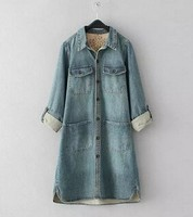 Wholesale China Supplier bule color washed denim shirt for women