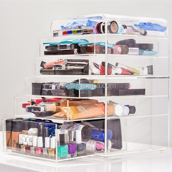 high quality material 5-layer acrylic makeup organizer with drawer/acrylic makeup storage organizer