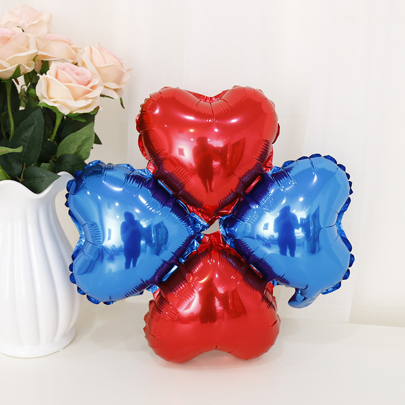 Heart Shaped Four-leaf Clover Balloons Wedding & Engagement Aluminium Foil Ballons Birthday Party Decorations Adult