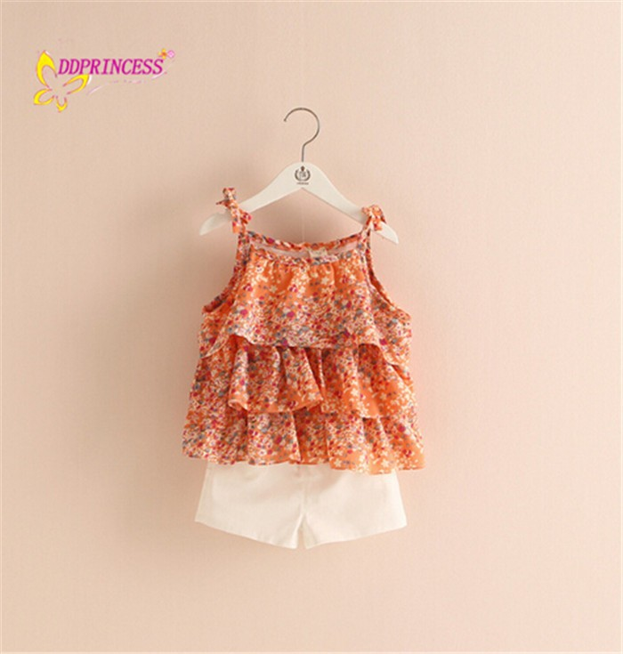 Summer cool design little baby girls boutique vintage flower girl cloting set new style good quality children clothing suit