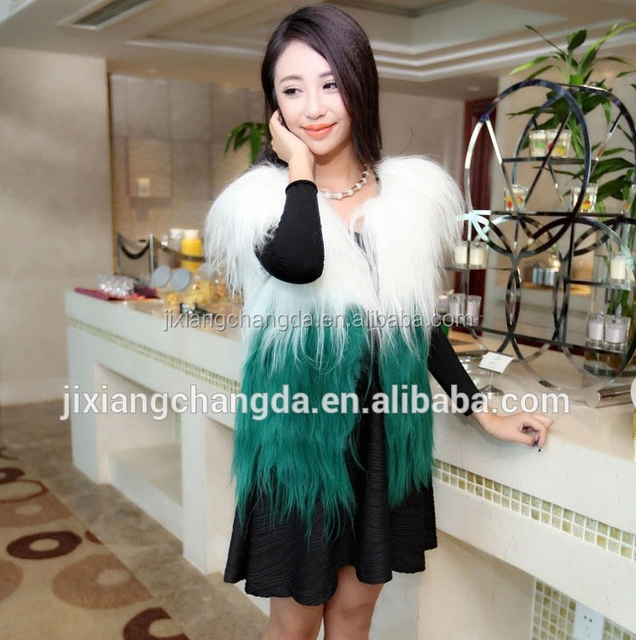 long hair genuine goat fur vest waistcoat sleeveless fur jacket wholesale