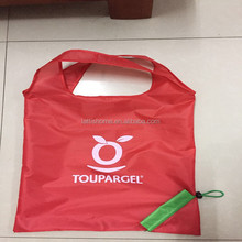 Promotional red color recycled folding bag wholesale shopping bag