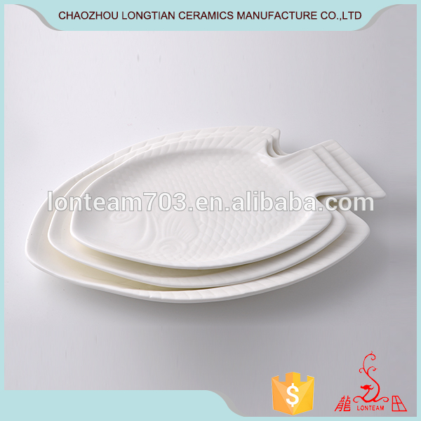 Creative custom white breakfast tray household size of ceramic fish plate