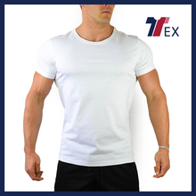 Hot sell activewear mens fashion body slim wear gym t shirt/blank white t shirt online shopping