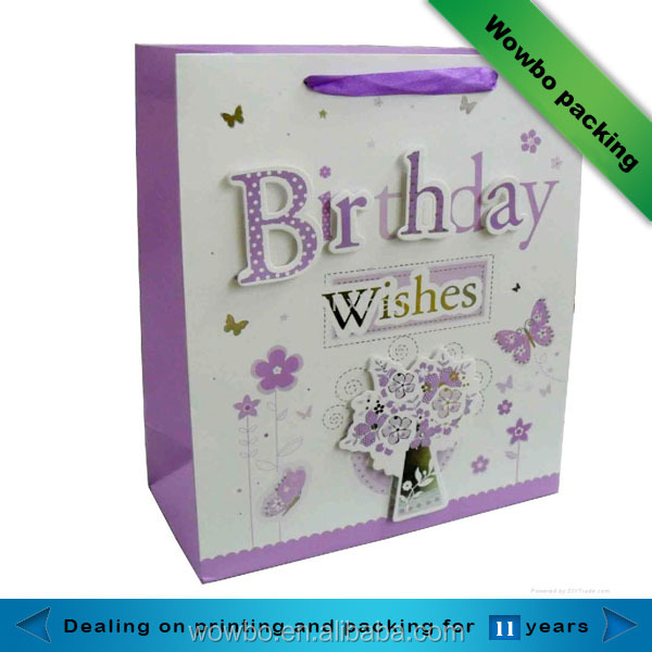 Wholesale custom logo paper packaging happy birthday gift bag with ribbon handles
