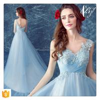 China Supplier Appliqued Beaded Light Blue Elegant Long Evening Dresses for Christmas Party Homecoming Dinner Dress