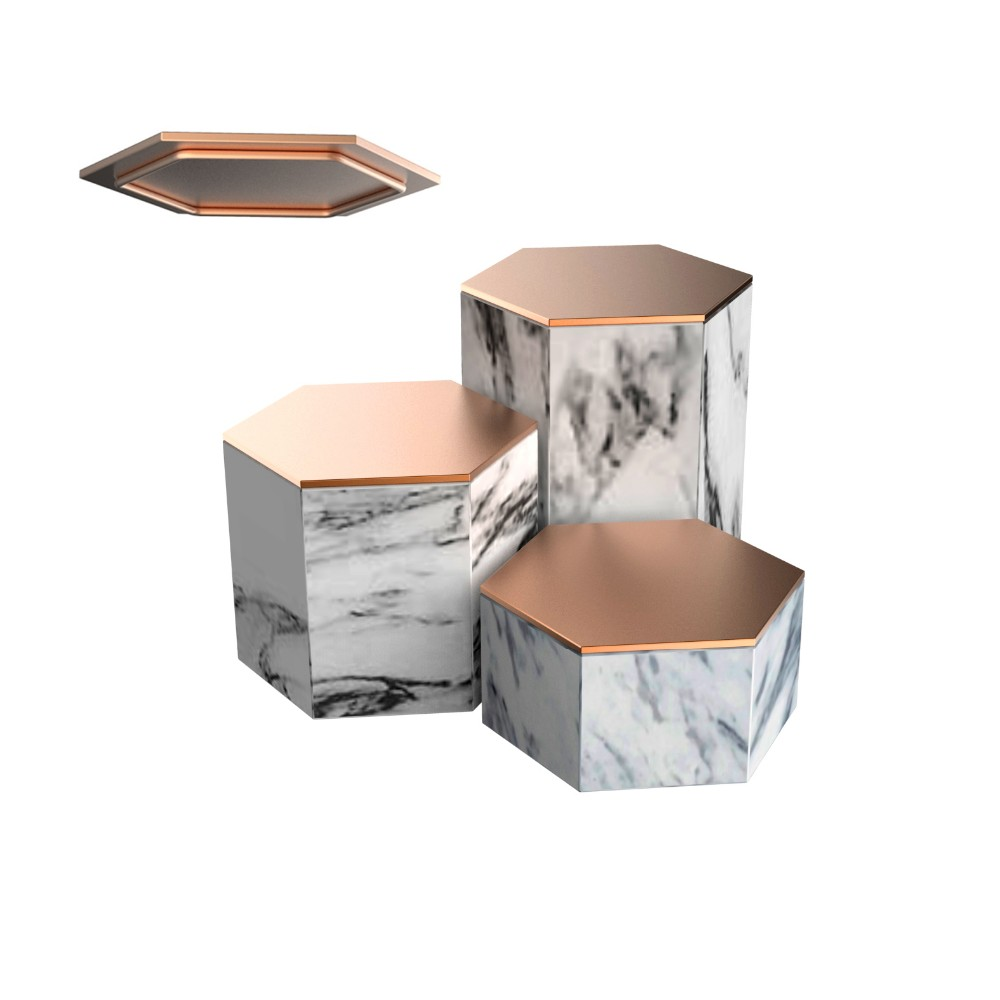 Marble Effect Novel Hexagon Concrete Storage Jar With Copper Lids For Container Home Buy