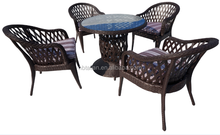 Classical hand knitting wicker rattan table and chair outdoor dining set
