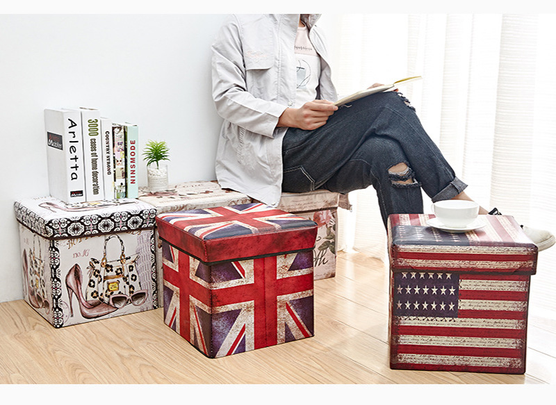 Folding Style Multifunction  Printed  Durable  storage Box Ottoman