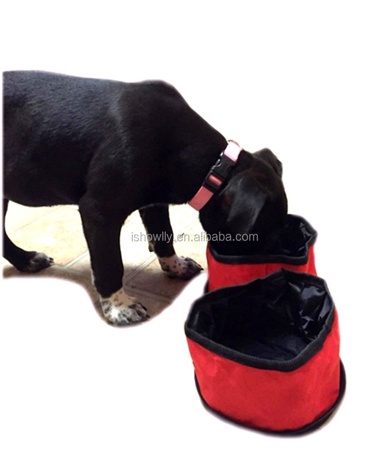 210D Collapsible Pet Dog Travel Bowl, portable Two Connected Bowls