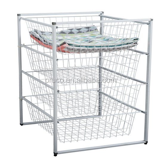 Wire Mesh Wardrobe Trolley Basket Set Organizer