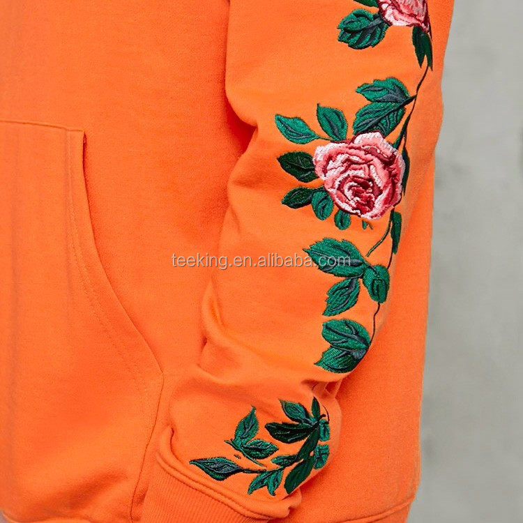 2017 Hot Floral Embroidery French Terry Hoodie