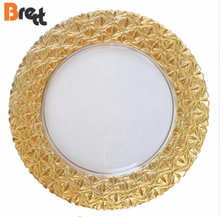 Wedding Tableware Royal Gold Rim Plated Glass Charger <strong>Plate</strong> Under <strong>Plate</strong>