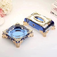 Top quality Pujiang wholesale K9 new design of crystal ashtray with metal base & crystal napkin box