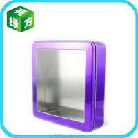 square candy tin box with clear pvc window on top