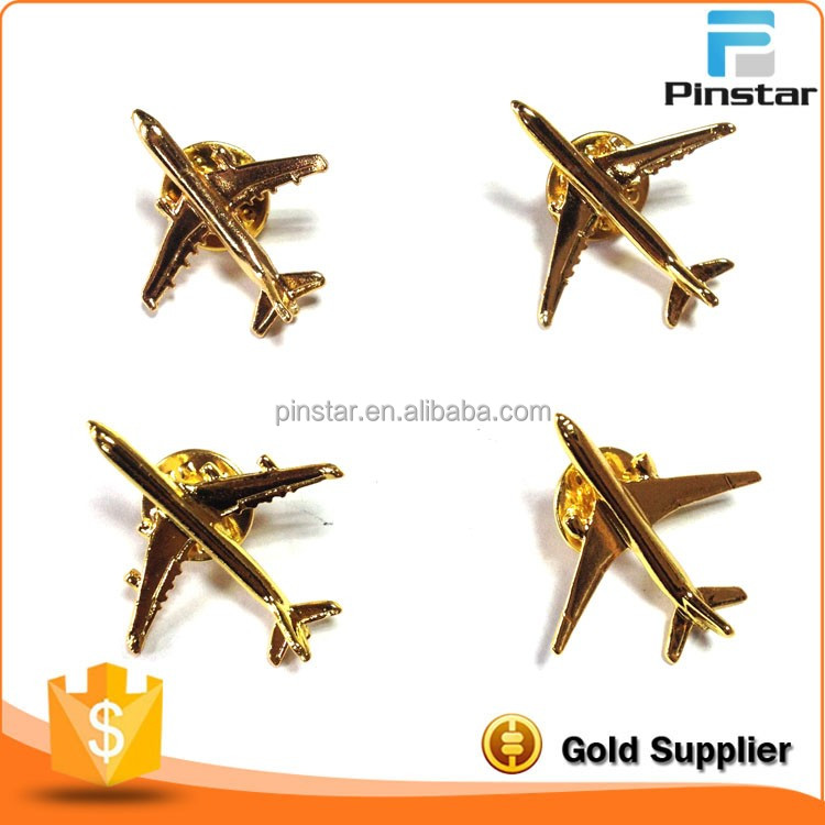 Free mold zinc alloy cheap gold metal airbus lapel pin airplane badge