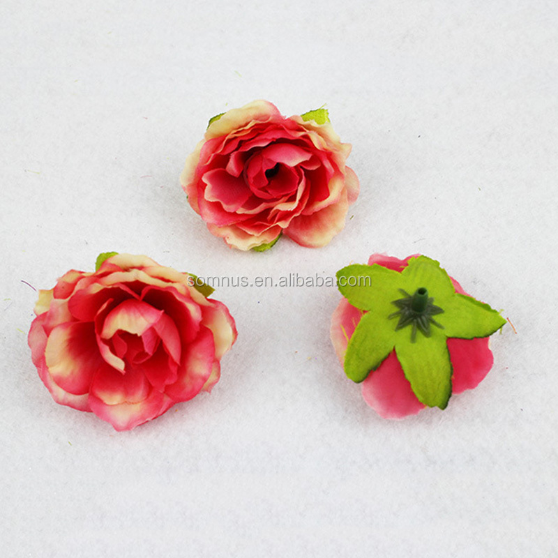 Small Artificial Hair Accessories Rose Flower Colorful Silk Flower Heads