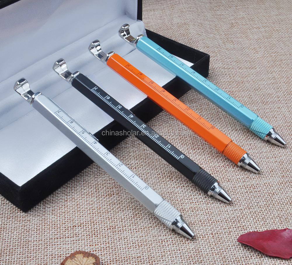 6 In 1 Multifunction Tool Metal Pen With Phone Holder,Screwdriver,Ruler,Level,Touch Stylus