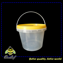 Popcorn clear plastic buckets with lids and handles