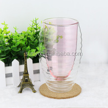 2017 FDA/SGS test Customized Handmade Double Wall Colored Water Drinking Glass for Promotion