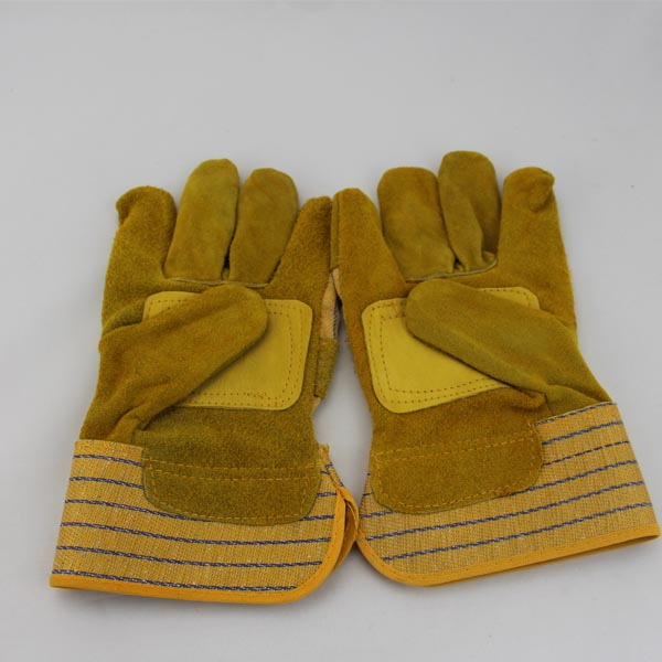 2014 economic industrial safety gloves China cotton safe working Dockers Snap Leather Gloves
