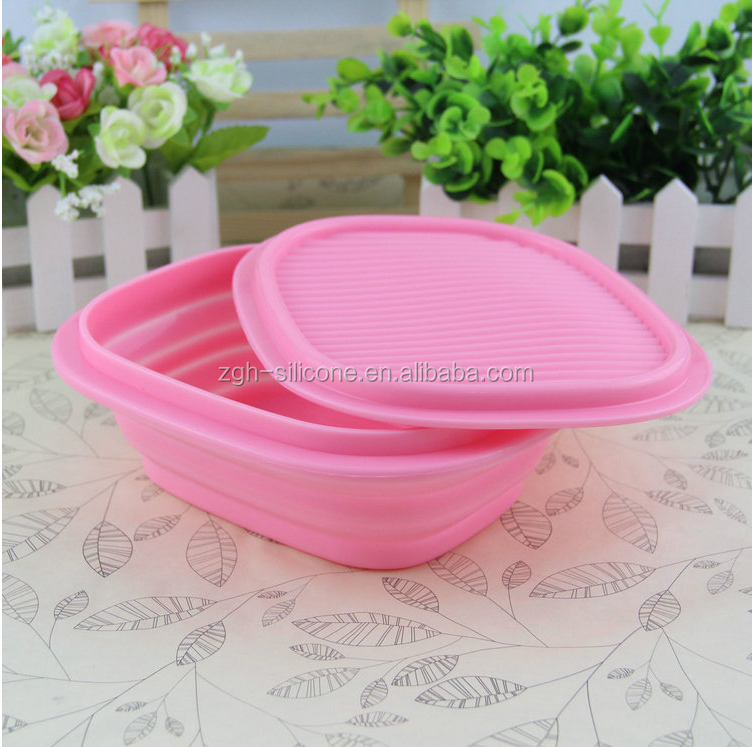 High quality food grade fashionable food storage containers folding lunch box , silicone collapsible