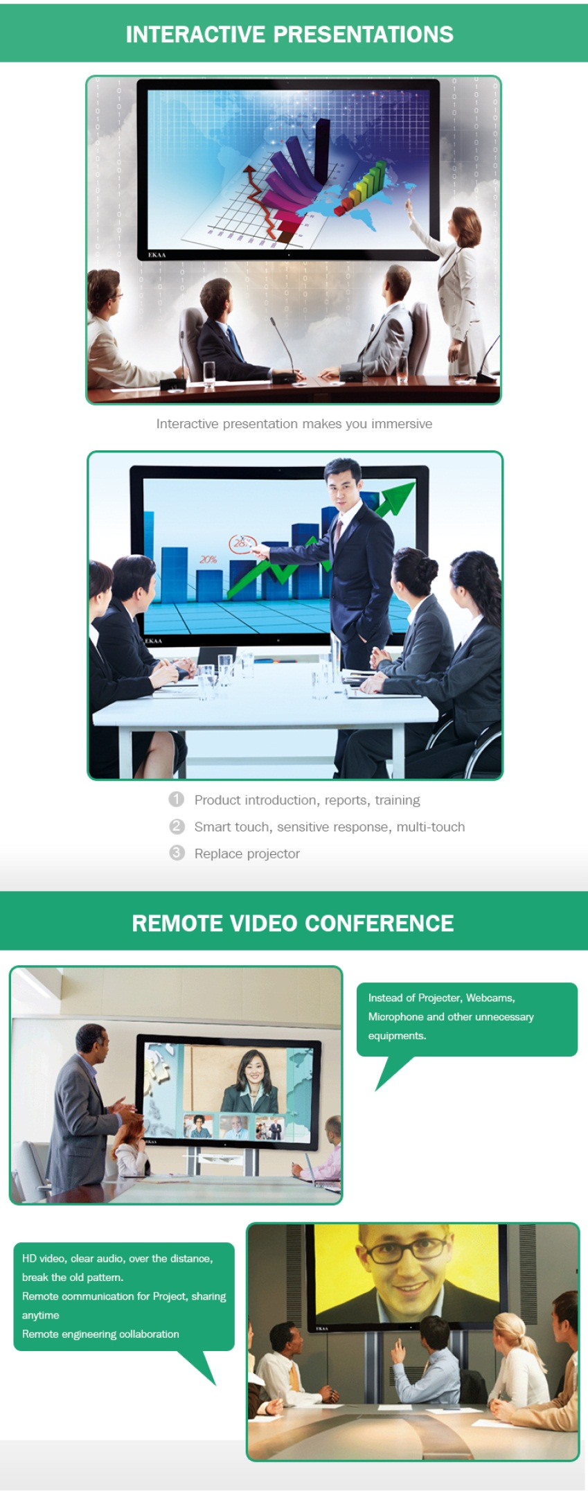 65 inch conference room equipment video conference equipment: touchscreen all in one pc computer