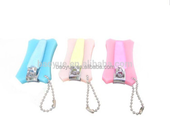 silicone cover nail clipper with chain, nail clipper with beautiful pattern silica gel sleeve . carbon steel nail clipper,