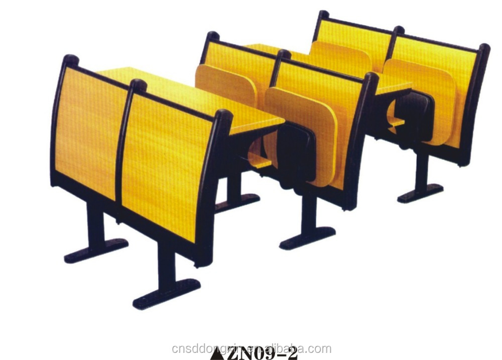 High Quality Folding Wood Desk and Chairs/University School Table and Chairs ZN09-2