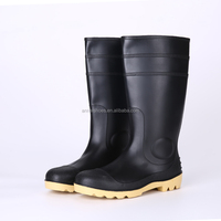 2016 Unisex black safety PVC rain boots with steel toe, steel toe insert safety boots
