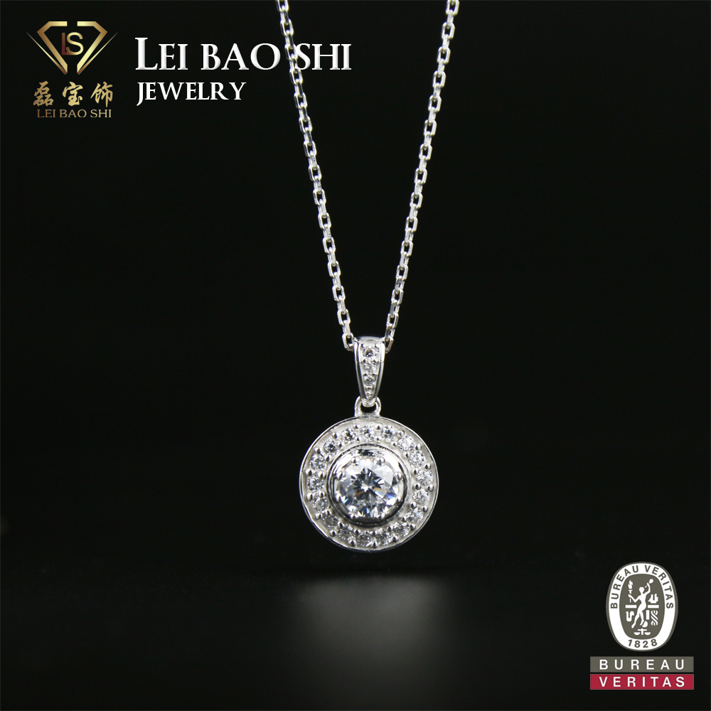 Fashion Changeable pendant necklace white gold plated lady silver jewelry necklace cz stone round pendant necklace