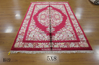 4x6ft Persian Qom red Obison design handmade silk area rugs wholesale