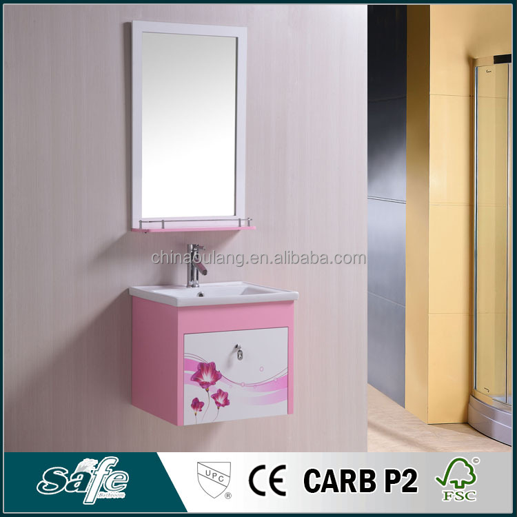 modern mirror cabinet ceramic basin pvc bathroom furniture with flower picture