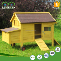 Easy Moved Commercial Wooden Chicken Coops Pet Houses With Wheel