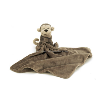 brown 100cm monkey blanket cheap price made in China high quality baby animal blanket