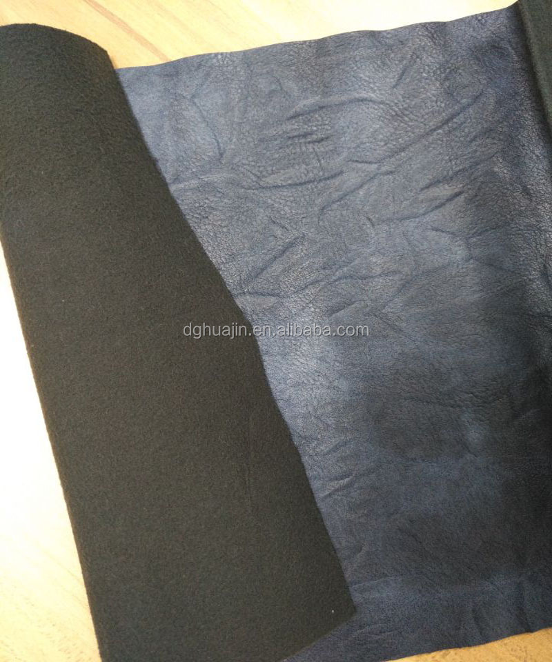 100% pu embossed synthetic leather material for making bags