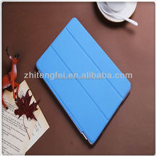 Hot sale PU blue 3 folding magnetic connection smart Cover for ipad mini