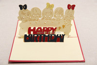 laser cut 3D Children happy birthday paper silhouette greeting card