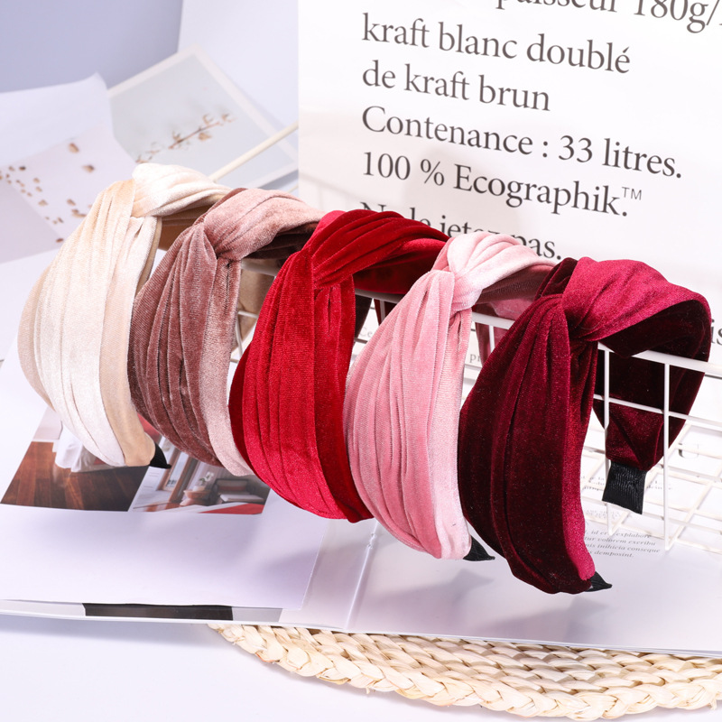 New Design Wide Velvet Women Hairband Ladies Fabric Knitted Headband Hairbands <strong>Hair</strong> <strong>Accessories</strong> for Girls