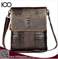 Cow Skin 100% Genuine Leather Bag For Men Crocodile Style Men's Business Messenge Bag Tablet handbag