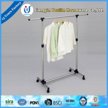 retractable round tube stand clothes hanger rack