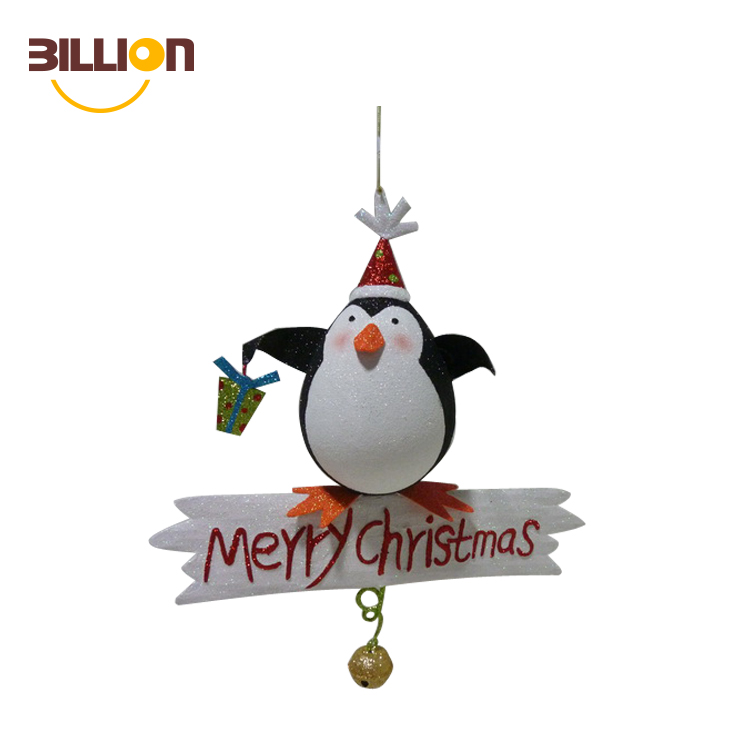 Factory Custom Cute Penguin Metal Christmas Wall Decoration