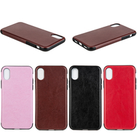 High Quality Crazy Horse Pattern Leather Back Case for iPhone X, 4 Colors Available