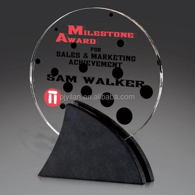 Optical glass crystal black fan-shaped base trophy award round crystal plaque crystal trophy and award